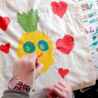 druktechnieken, textiel, stempel, kinderen, workshop