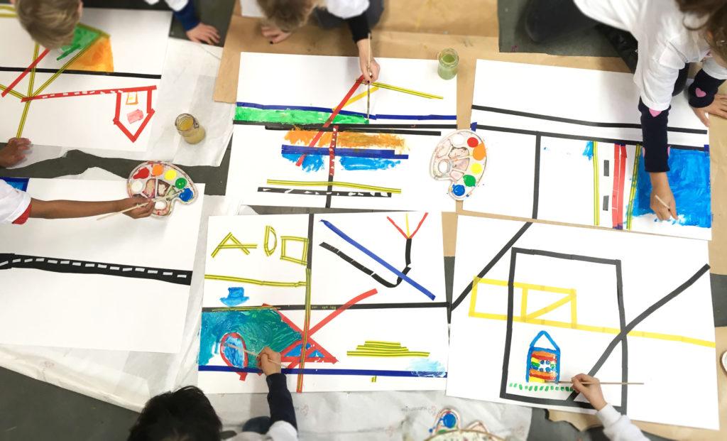 Verf kinderen tape kunst kunstles den haag